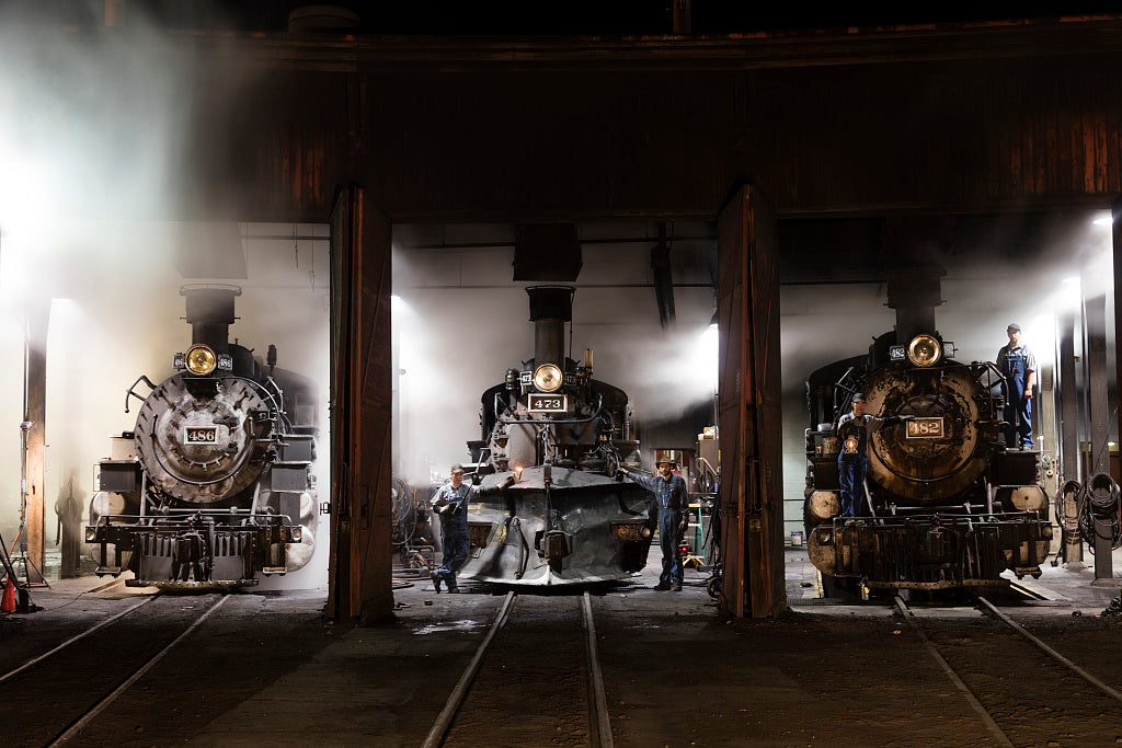 18 x 24 Photograph reprinted on fine art canvas  of Steam locomotives in the roundhouse of the Durango & Silverton Narrow Gauge Scenic Railroad in Durango Colorado r66 42273 by Highsmith, Carol M.,