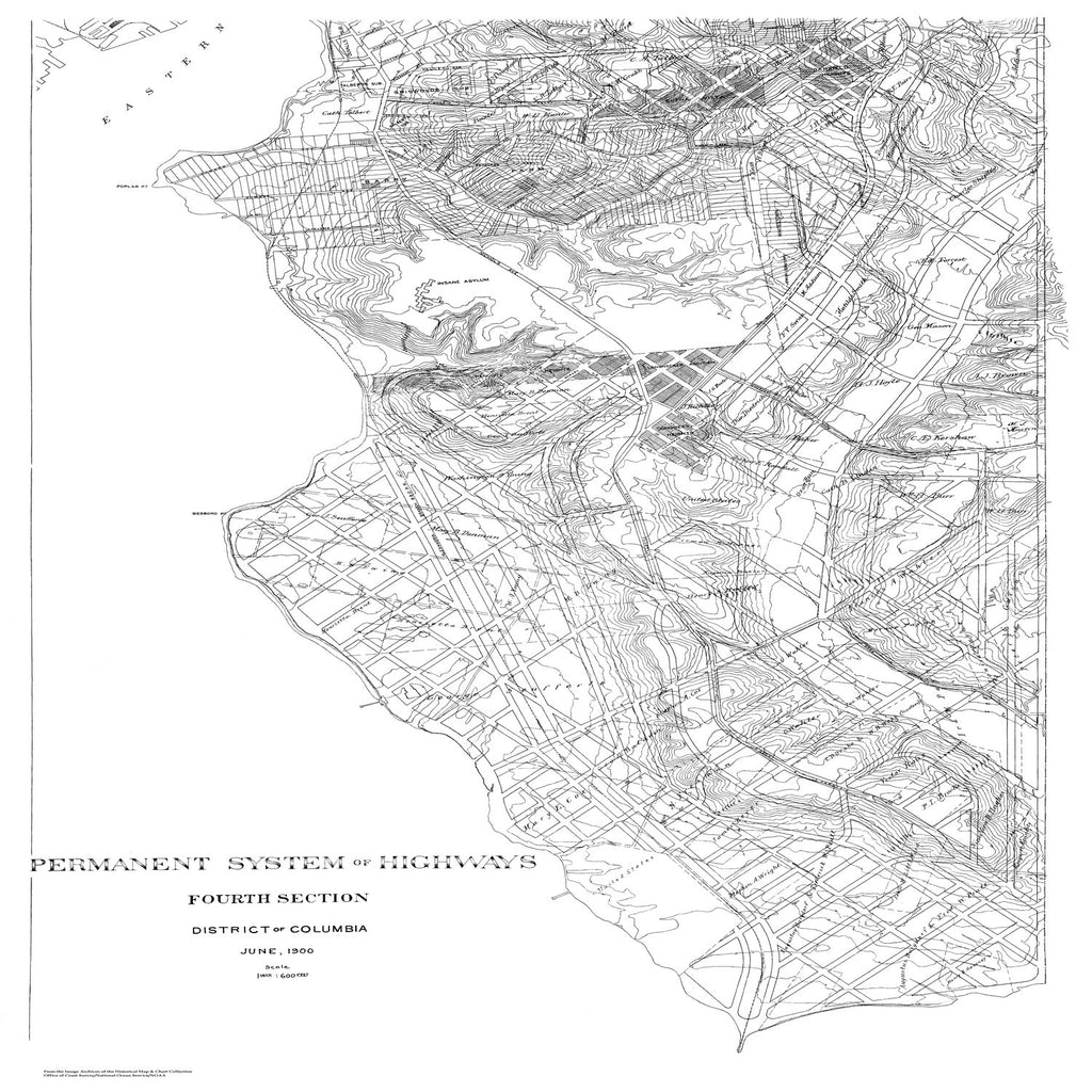 18 x 24 inch 1900 US old nautical map drawing chart of Highway Extension Plan of DC (Fourth Section) From  NOAA x1614