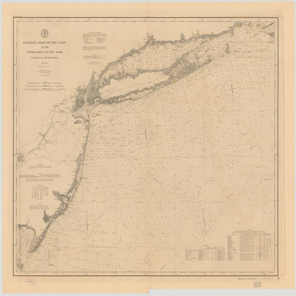 18 x 24 inch 1892 US old nautical map drawing chart of GENERAL CHART OF THE COAST NO.VIII, APPROACHES TO NEW YORK, GAY HEAD TO CAPE HENLOPEN From  US Coast & Geodetic Survey x1942