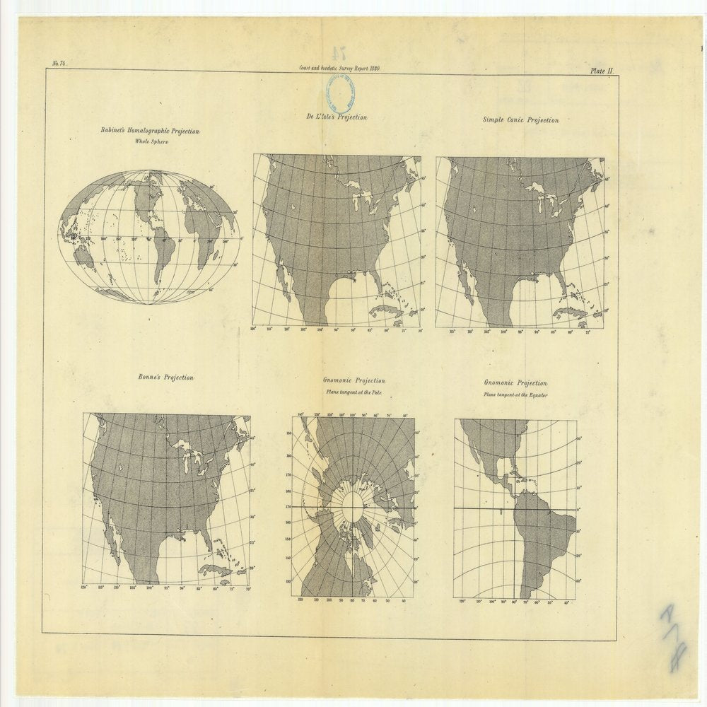18 x 24 inch 1880 US old nautical map drawing chart of Habinet's Homalographic Projection with De L'Isle's Projection, Simple Conic Projection, Gnomonic Projection, Bonne's Projection, From  US Coast & Geodetic Survey x86