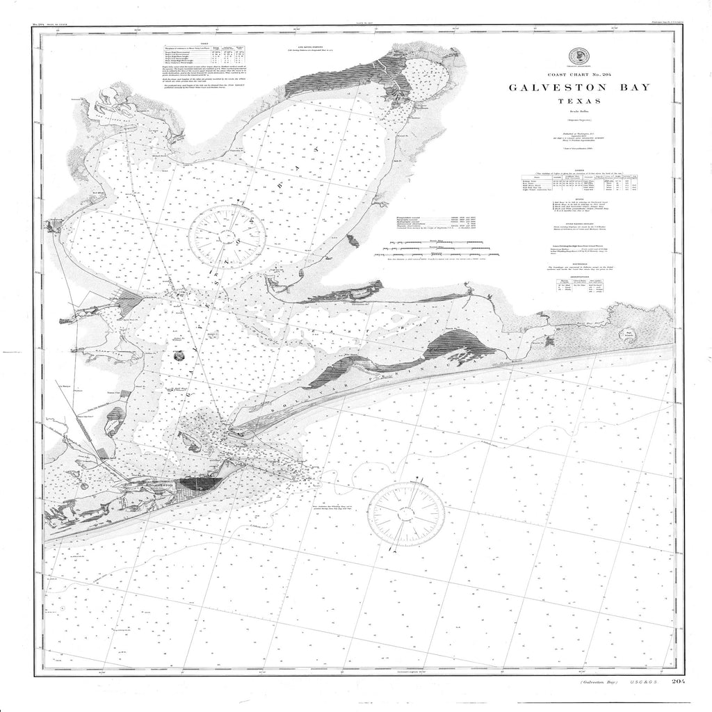 18 x 24 inch 1900 Texas old nautical map drawing chart of Galveston Bay From  US Coast & Geodetic Survey x11682