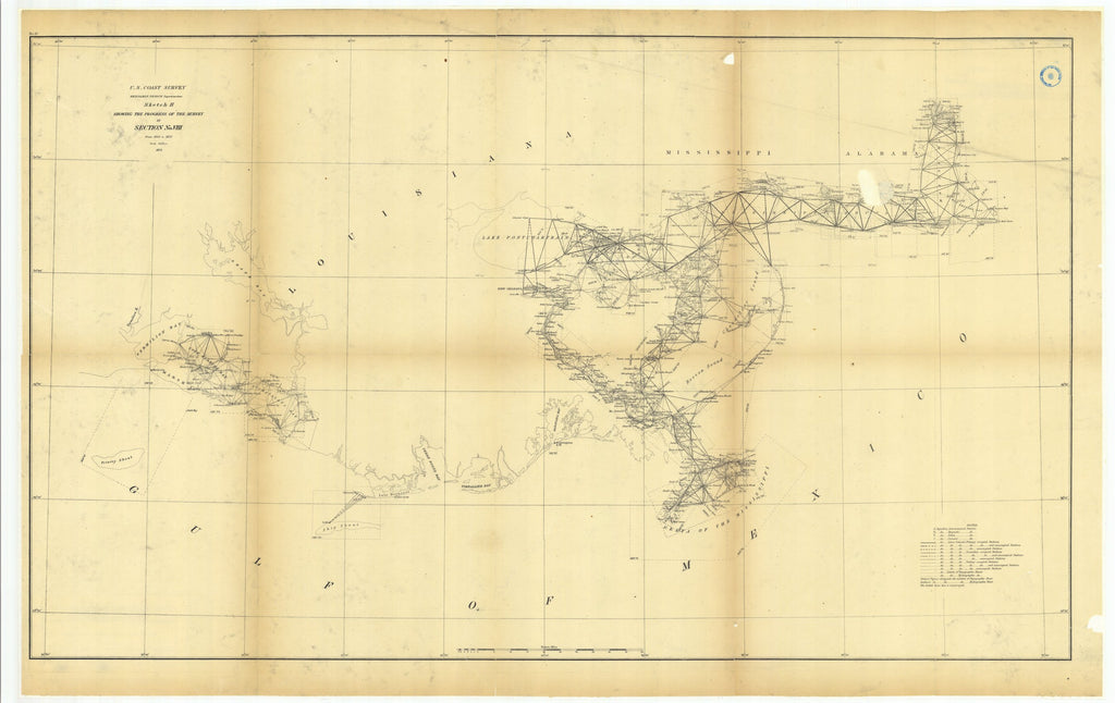 18 x 24 inch 1873 US old nautical map drawing chart of Sketch H Showing the Progress of the Survey in Section Number 8 from 1846 to 1873 From  U.S. Coast Survey x1136