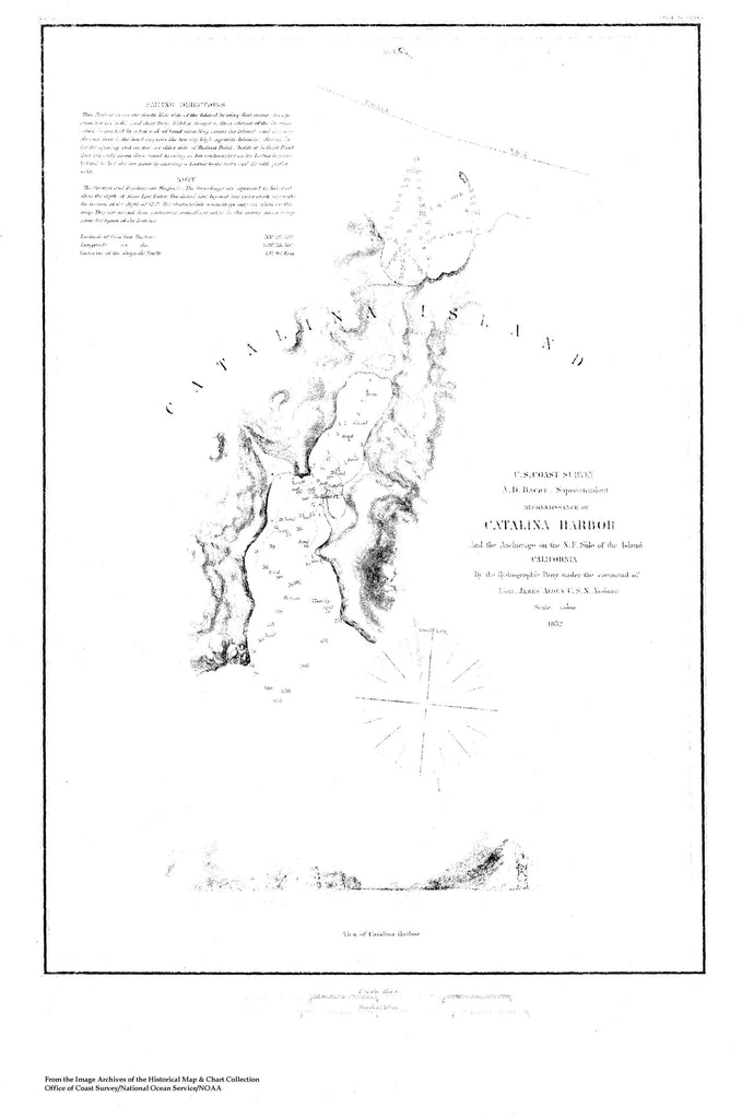 18 x 24 inch 1852 US old nautical map drawing chart of Reconnaissance of Catalina Harbor From  US Coast & Geodetic Survey x4235