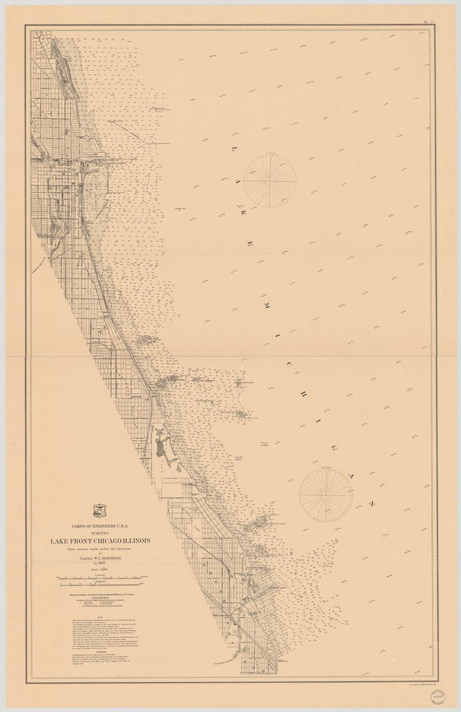 18 x 24 inch 1893 US old nautical map drawing chart of LAKE FRONT CHICAGO ILLINOIS From  Lake Survey x1525