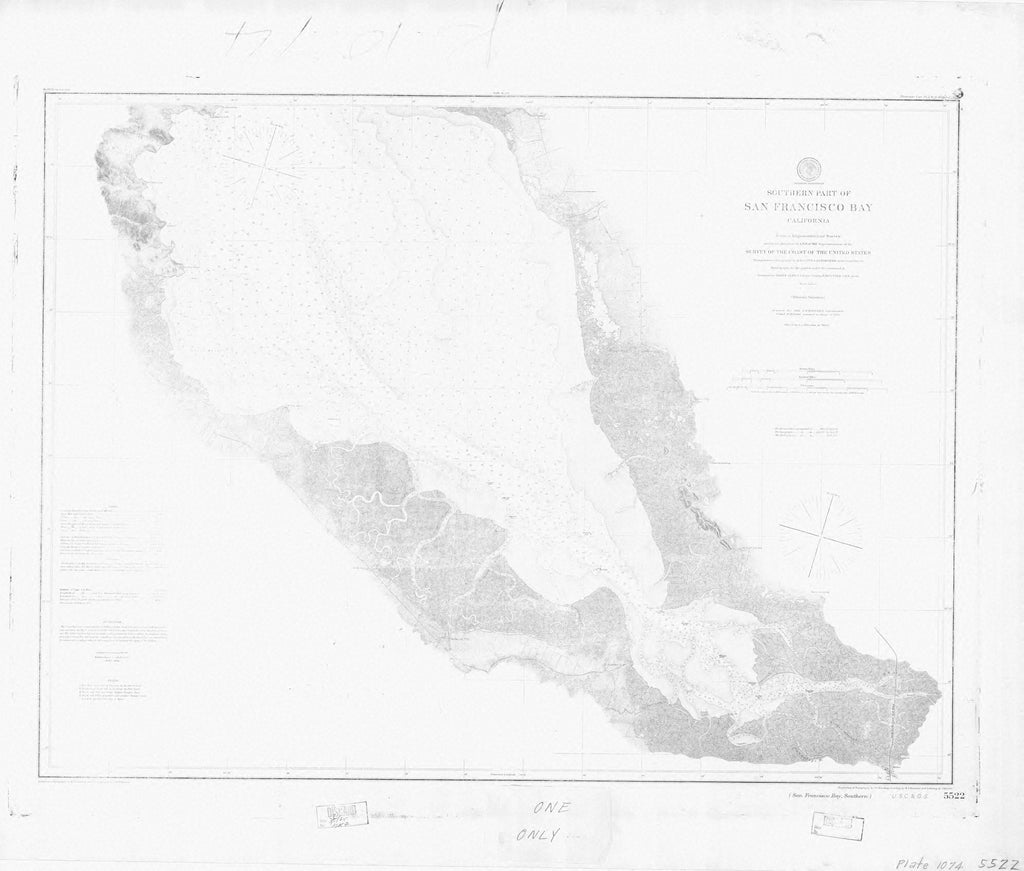 18 x 24 inch 1862 California old nautical map drawing chart of SAN FRANCISCO BAY SOUTHERN From  C&GS x7381