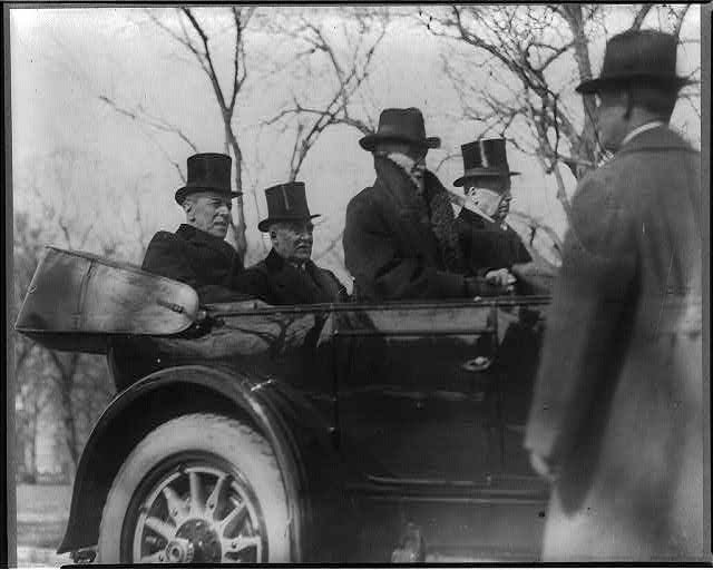8 x 10 Reprinted Old Photo of Wilson, Harding, Cannon and Knox in car on way to Harding's inauguration, Mar. 1921 1921 National Photo Co  02a