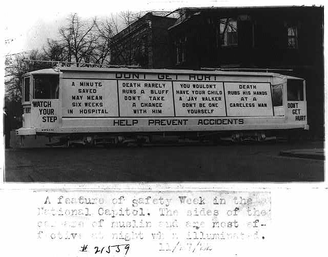 8 x 10 Reprinted Old Photo of Streetcar decorated with safety slogans. Washington, D.C., Nov. 27, 1922 1922 National Photo Co  33a
