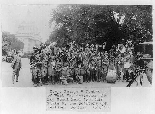 8 x 10 Reprinted Old Photo of Congressman George W. Johnson of West Virginia posed with Boy Scout band from his state 1924 National Photo Co  35a