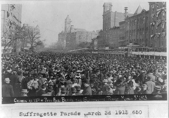 16 x 20 Reprinted Old Photo ofCrowds at 15th & Penna. Ave. before the Suffragette Parade, March 3, 1913 1913 National Photo Co  03a
