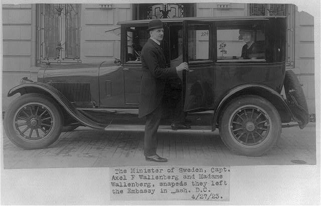 16 x 20 Reprinted Old Photo of[Axel F. Wallenberg, full, standing by auto in front of Swedish Embassy, Wash., D.C.] 1923 National Photo Co  18a
