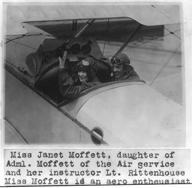 16 x 20 Reprinted Old Photo of Miss Janet Moffett, daughter of Adm. [William Adger] Moffett of the Air Service, and her instructor Lt. Rittenhouse [in cockpit of plane] 1923 National Photo Co  23a