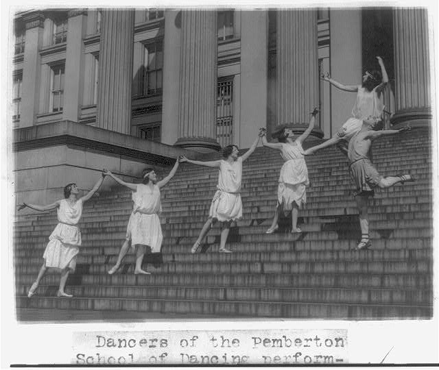 8 x 10 Reprinted Old Photo of Dancers of the Pemberton School of Dancing performing on Capitol steps 1921 National Photo Co  22a