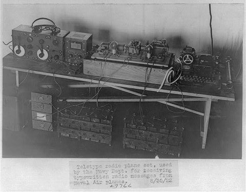 8 x 10 Reprinted Old Photo of  Teletype radio plane set, used by Navy Dept., to receive typewritten radio messages from Naval airplanes 1922 National Photo Co  31a