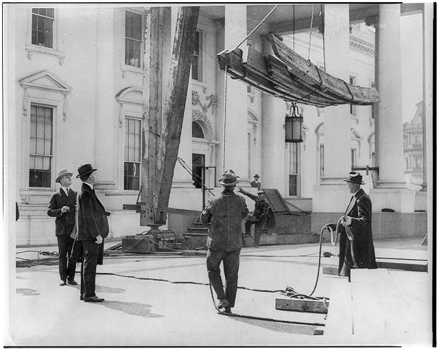 16 x 20 Reprinted Old Photo of[Calvin Coolidge, full, standing, watching construction on the White House] 1921 National Photo Co  12a
