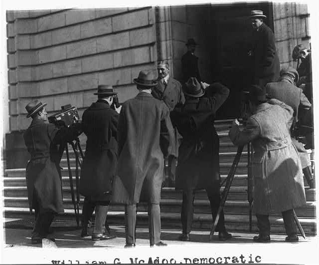 8 x 10 Reprinted Old Photo of William G. McAdoo poses for news photos before entering Senate Office Building 1924 National Photo Co  55a
