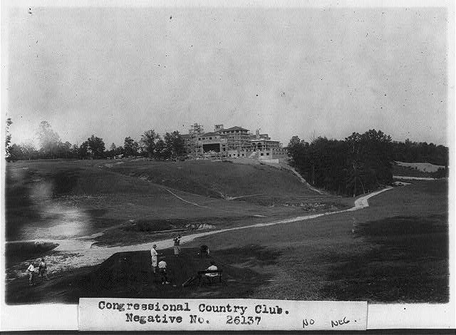 16 x 20 Reprinted Old Photo of[Congressional Country Club under construction in the background, in the foreground people are playing golf] 1925 National Photo Co  75a