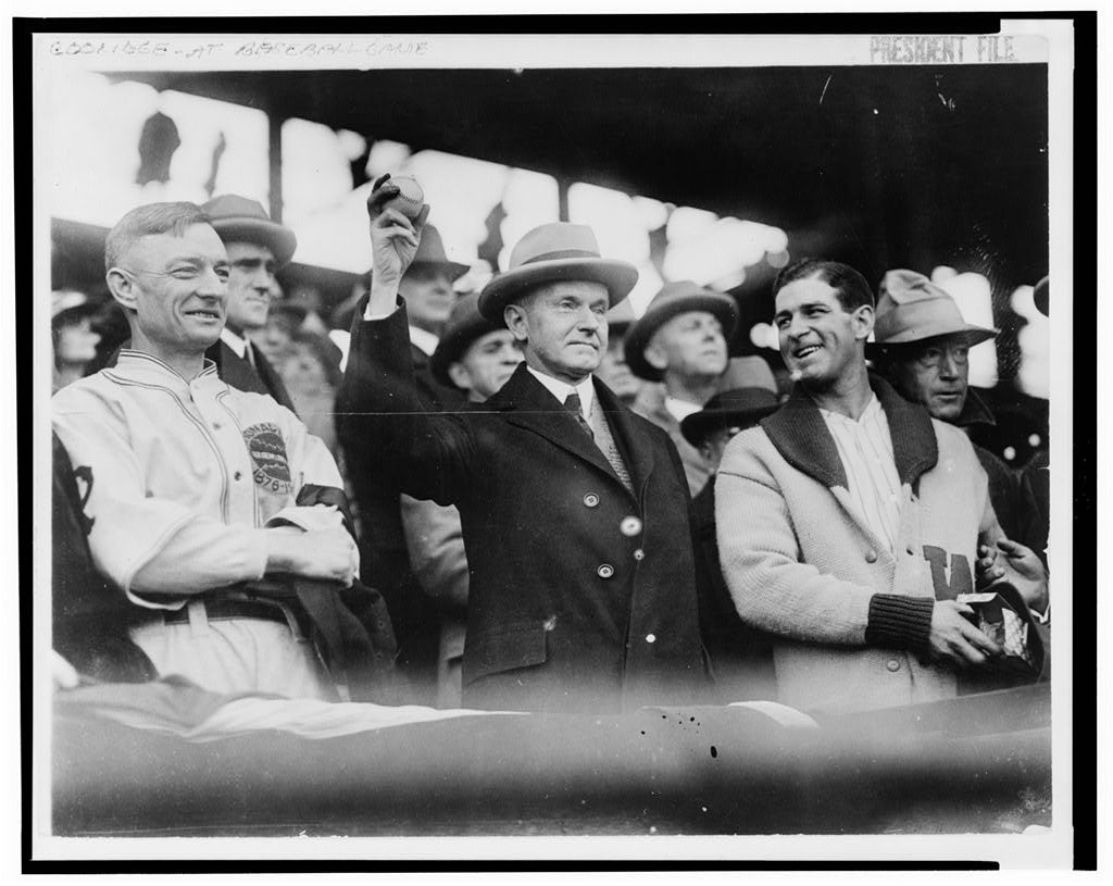 16 x 20 Reprinted Old Photo of[Calvin Coolidge, half length, standing, facing slightly right, holding up baseball at baseball game prior to opening game, 1925. L.to R.: Bil 1925 National Photo Co  72a