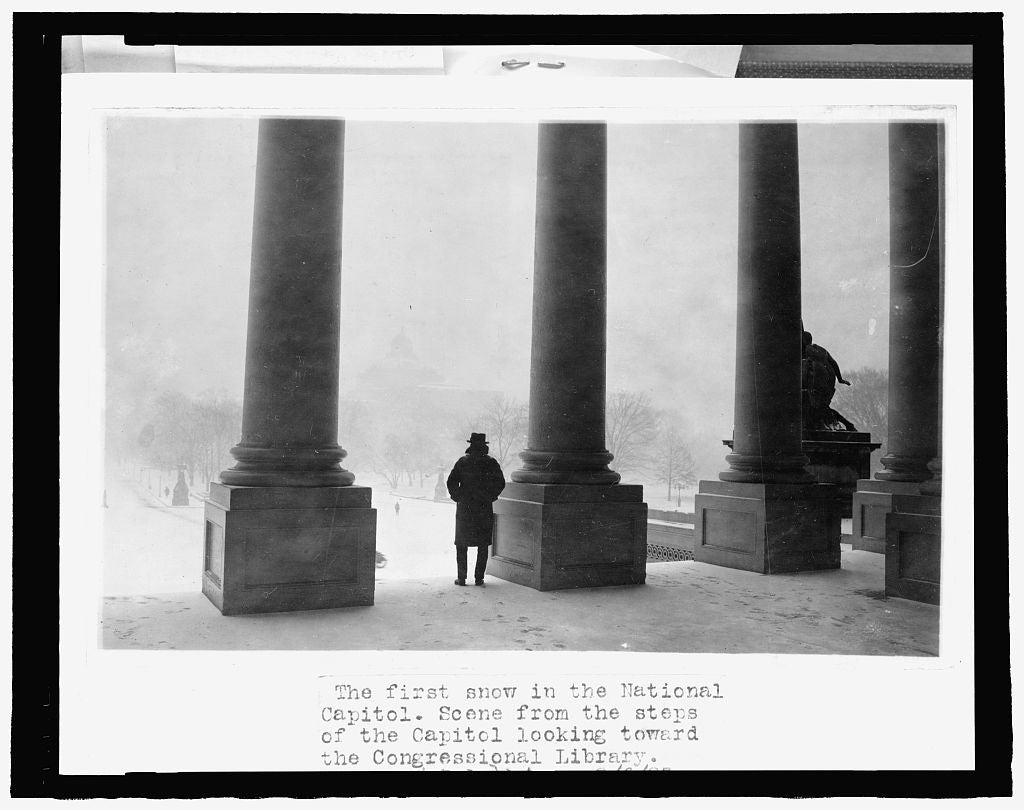 8 x 10 Reprinted Old Photo of The first snow in the National Capitol - scene from the steps of the U.S. Capitol, looking toward the Congressional Library 1923 National Photo Co  74a