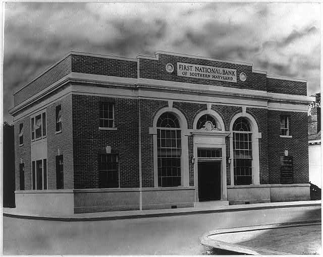 8 x 10 Reprinted Old Photo of [First National Bank of Southern Maryland (in a Washington, D.C., suburb?)] 1921 National Photo Co  71a