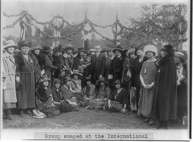 8 x 10 Reprinted Old Photo of Group at the International Tree Planting, with women from 21 nations who are attending the Pan American Conference of Women, Baltimore, 1922 - 1922 National Photo Co  85a