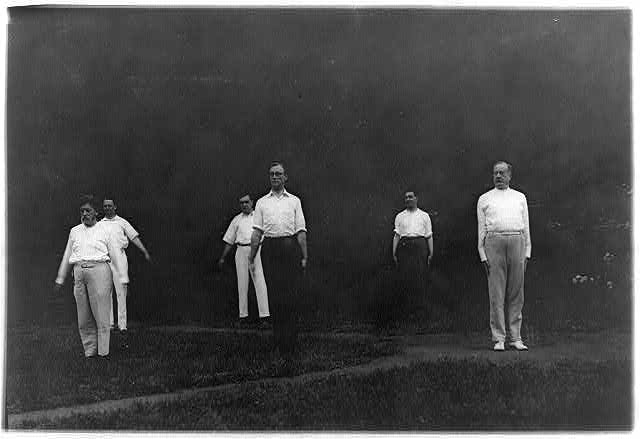 8 x 10 Reprinted Old Photo of [Woodrow Wilson's Cabinet members exercising - F.D. Roosevelt in center foreground, Aug. 1917] 1917 National Photo Co  01a