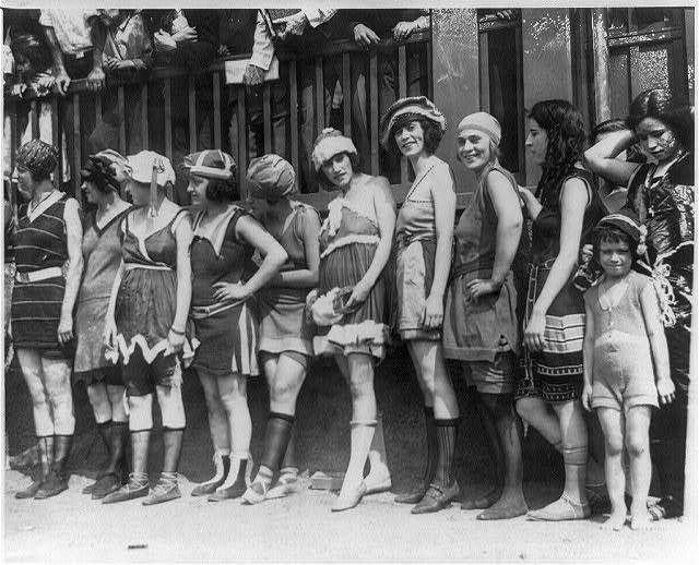 16 x 20 Reprinted Old Photo of11 women and a little girl lined up for bathing beauty contest 1920 National Photo Co  42a