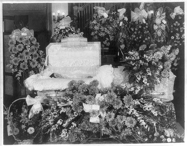 8 x 10 Reprinted Old Photo of Bier and flowers, probably in a Washington, D.C. funeral home 1920 National Photo Co  58a
