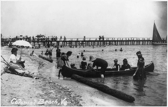 8 x 10 Reprinted Old Photo of Bathers at Colonial Beach, Va. 1921 National Photo Co  59a