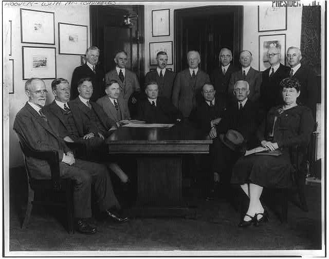 8 x 10 Reprinted Old Photo of [4 members of Pres. Coolidge's cabinet (Hoover, Davis, Wilbus & Mellon), American Red Cross members, and government agency representatives gat 1927 National Photo Co  33a