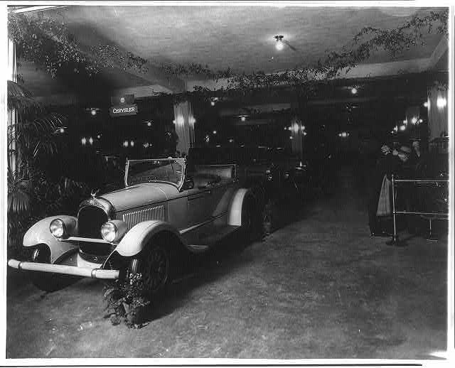 8 x 10 Reprinted Old Photo of Exhibits at an unidentified auto show, probably in Washington, D.C., Chrysler convertible in foreground 1920 National Photo Co  66a