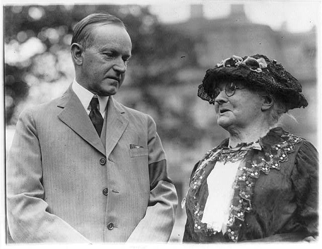 "16 x 20 Reprinted Old Photo of [President Calvin Coolidge and ""Mother"" Jones, half-length, standing outdoors.] 1924 National Photo Co  82a"