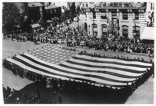 8 x 10 Reprinted Old Photo of Huge flag being carried by a large group of men in a G.A.R. parade in Washington, D.C. 1915 National Photo Co  81a