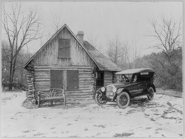 8 x 10 Reprinted Old Photo of Two women in new Oldsmobile in front of log cabin, Rock Creek Park, Washington, D.C.; picture made for Oldsmobile Sales Co. 1920 National Photo Co  97a