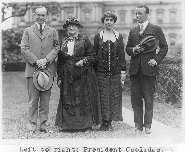 "16 x 20 Reprinted Old Photo of [President Coolidge, ""Mother"" Jones, Mrs. Coolidge and Theodore Roosevelt, Jr., posed standing on White House lawn.] 1929 National Photo Co  87a"