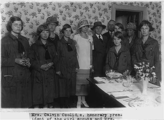 "16 x 20 Reprinted Old Photo of [Mrs. Calvin Coolidge and Mrs. Herbert Hoover with some Girl Scouts at the Girl Scout ""Little House,"" where they demonstrated for Mrs. Coolid 1925 National Photo Co  90a"