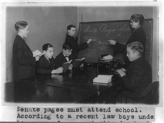 8 x 10 Reprinted Old Photo of Senate pages must attend school - according to a recent law boys under 14 years of age must attend ... Mrs. D. Jones is shown instructing 1926 National Photo Co  77a