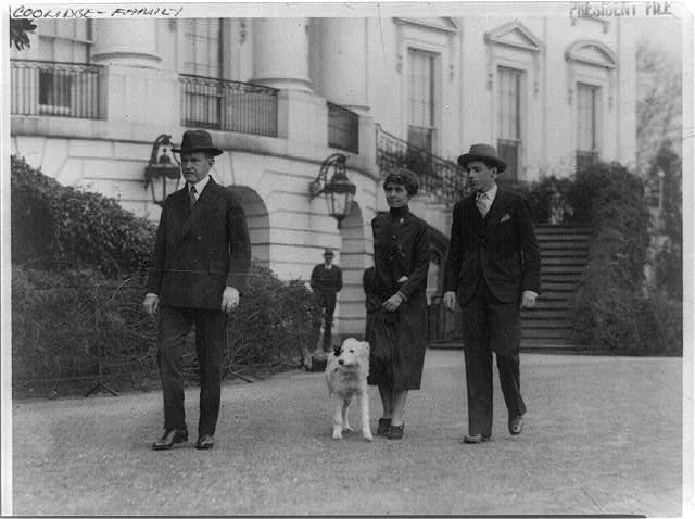 8 x 10 Reprinted Old Photo of [Pres. and Mrs. Calvin Coolidge, their son, John, and dog, walking outside the White House?] [no date recorded on caption card] National Photo Co  16a