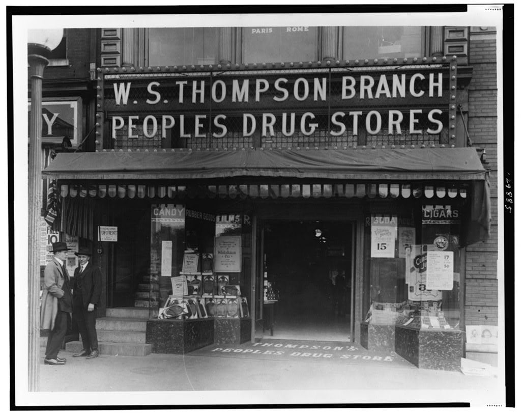 16 x 20 Reprinted Old Photo ofDisplay windows of People's Drug Store, W.S. Thompson Branch, 15th and New York Ave., Washington, D.C 1921 National Photo Co  73a