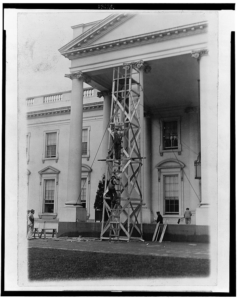 8 x 10 Reprinted Old Photo of The White House is undergoing its annual inspection and repair 1929 National Photo Co  99a