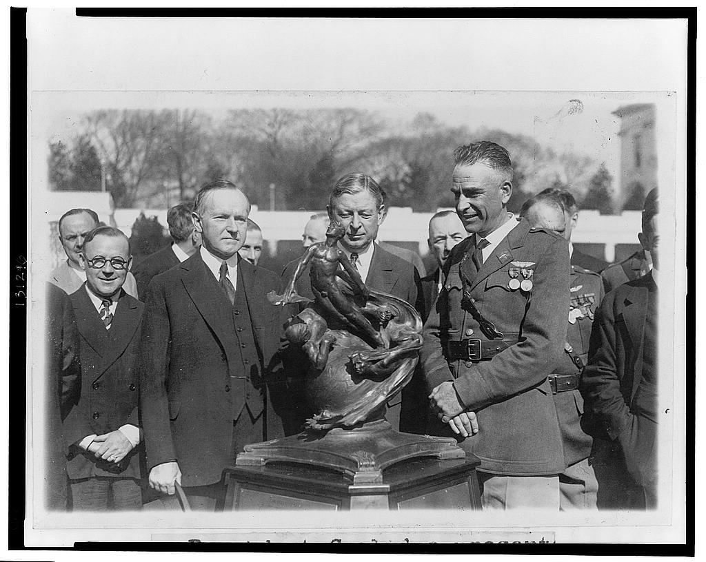 8 x 10 Reprinted Old Photo of President Coolidge presents Collier trophy 1927 National Photo Co  11a