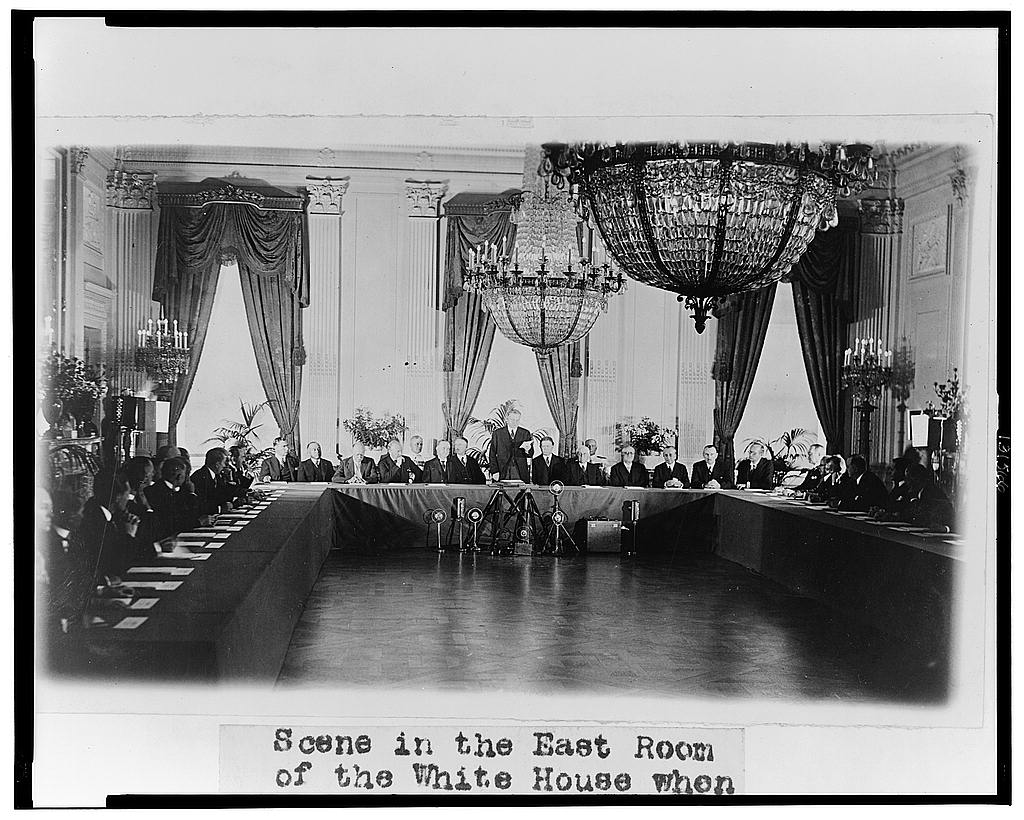 8 x 10 Reprinted Old Photo of Scene in the East Room of the White House when the President received representatives of the Nations who have ratified the Treaty for the Renu 1929 National Photo Co  07a