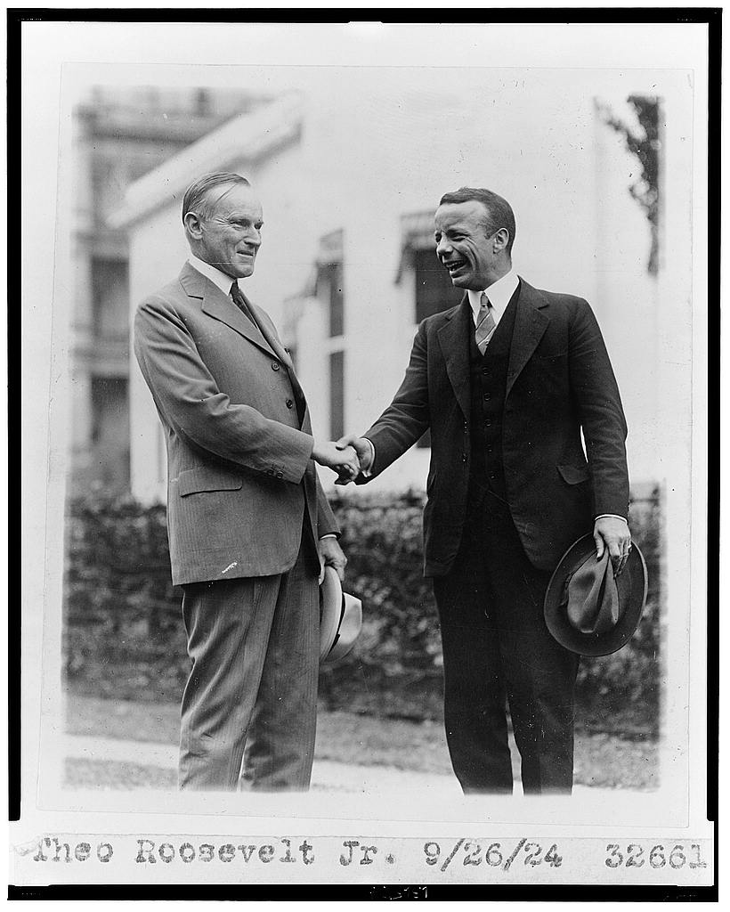 8 x 10 Reprinted Old Photo of Theo Roosevelt Jr. [shaking hands with Calvin Coolidge] 1924 National Photo Co  41a