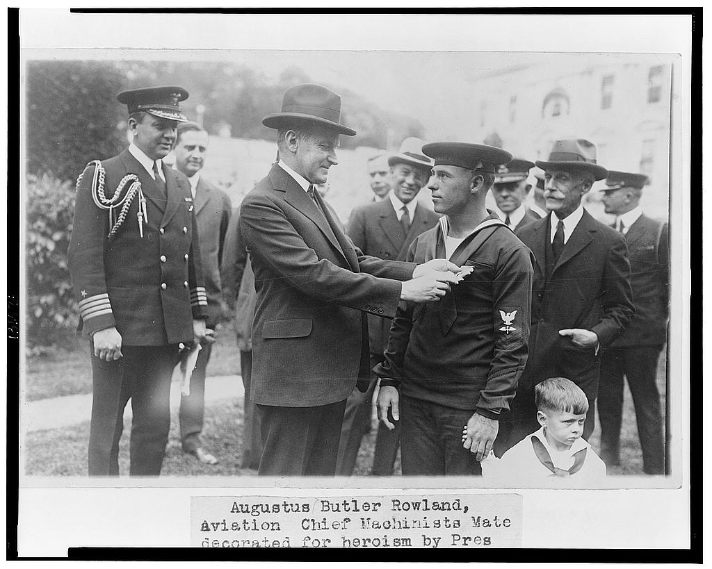16 x 20 Reprinted Old Photo ofAugustus Butler Rowland, Aviation Chief Machinists Mate, decorated for heroism by Pres. Coolidge 1925 National Photo Co  45a