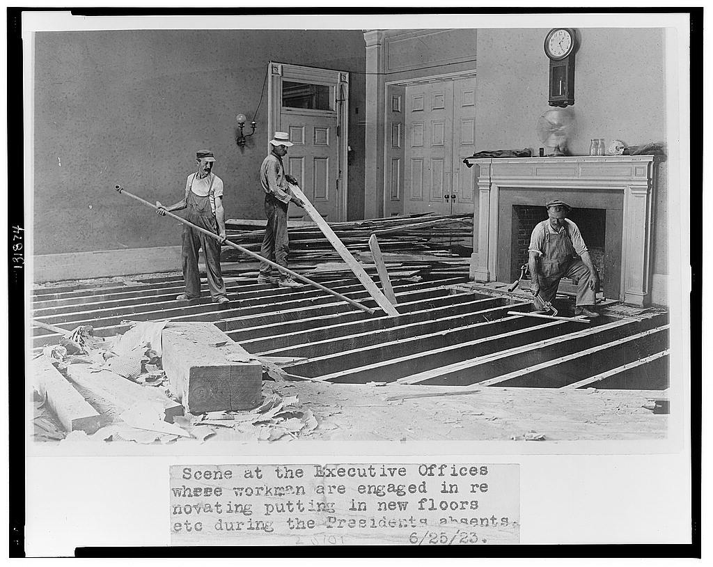 8 x 10 Reprinted Old Photo of Scene at the executive offices where workmen are engaged in renovating, putting in new floors, etc. during the President's absents [sic] 1923 National Photo Co  25a