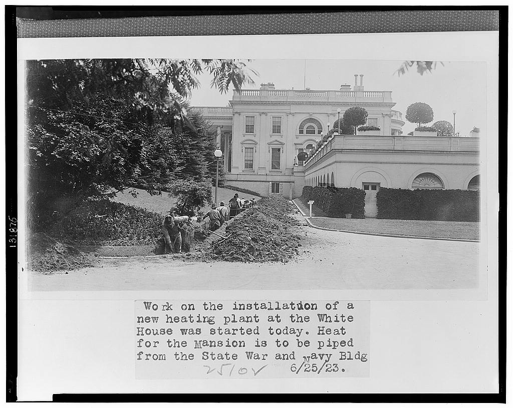 8 x 10 Reprinted Old Photo of Work on the installation of a new heating plant at the White House was started today 1923 National Photo Co  26a