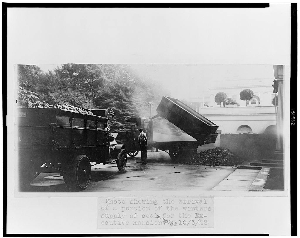 8 x 10 Reprinted Old Photo of Photo showing the arrival of a portion of the winter's supply of coal for the executive mansion 1922 National Photo Co  21a