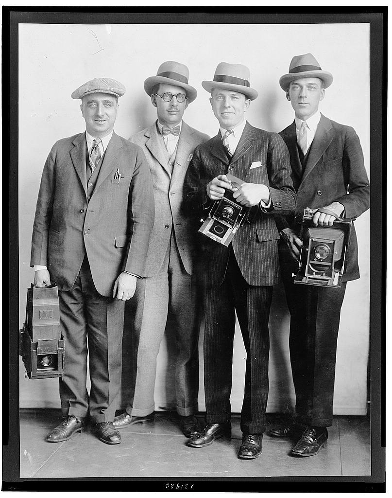 16 x 20 Reprinted Old Photo of[Group portrait of four members of the White House News Photographers' Association, standing, facing front, holding cameras] 1924 National Photo Co  30a