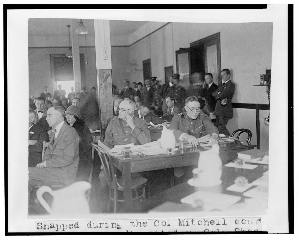8 x 10 Reprinted Old Photo of Snapped during the Col. Mitchell court martial proceedings today - Col. Sherman Moreland, judge advocate, and Lt. Col. Joseph I. McMullen, ass 1925 National Photo Co  71a