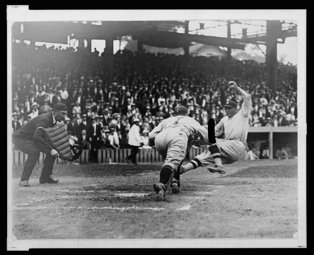 8 x 10 Reprinted Old Photo of [Umpire ready to make the call as catcher lunges to apply tag to Washington ball player sliding into home plate during baseball game] 1920 National Photo Co  18a