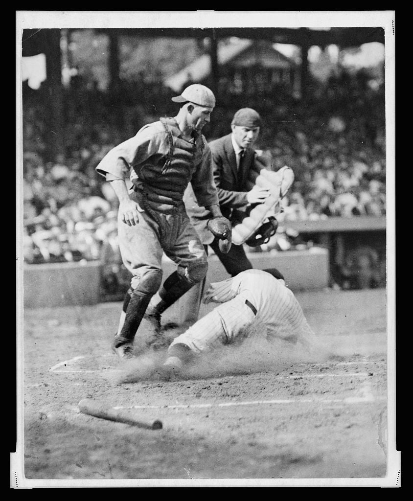8 x 10 Reprinted Old Photo of [Umpire Dick Nallin is ready to make the call as Washington Senators' Earl McNeely safely slides into home plate at the feet of the Boston Red 1925 National Photo Co  15a